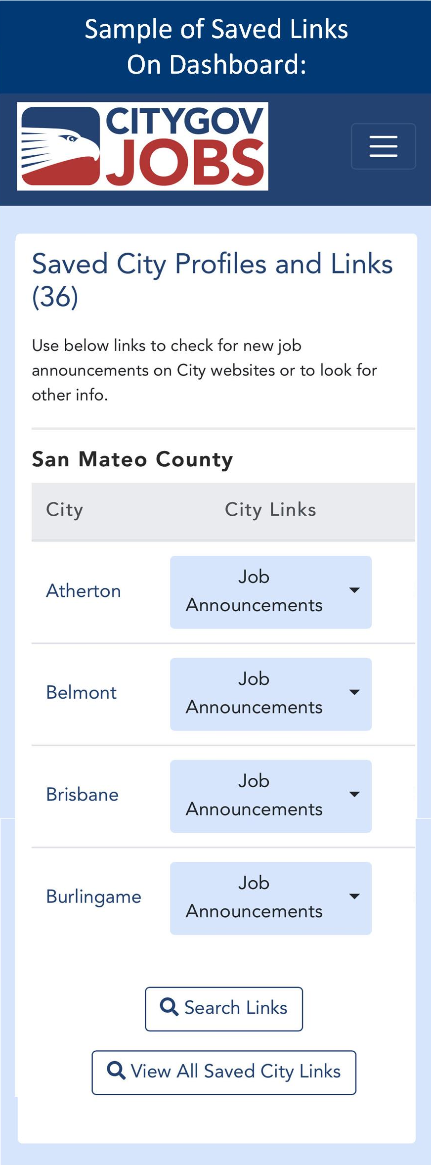 Sample City Links Dashboard