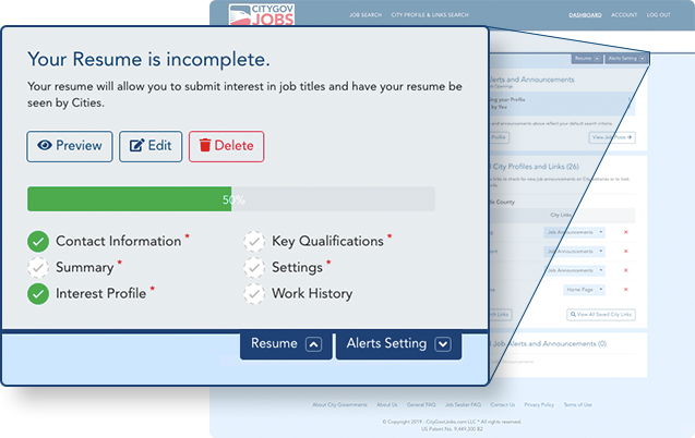 Screenshot from the system for job seekers